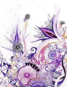 Living Amethyst - Purple Lavender and Violet Delicate Botanical Abstract Art