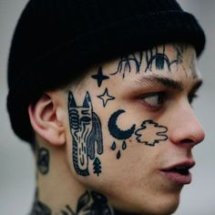 Face Tattoos for Men: Face Tattoo's trend is increasing to the next level. If you are looking to get face tattoo then we can help you with that. Here you will see some great tattoos for the face which men can try. Face Tattoos For Men, Cool Tattoos For Girls, Head Tattoos, Face Tats, Tattoo Neck, Sleeve Tattoos, Face Peircings, Gotik Tattoo, Celtic Tattoo Symbols