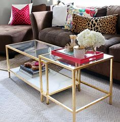 Ikea Hack: Glass Coffee Table with gold leaf