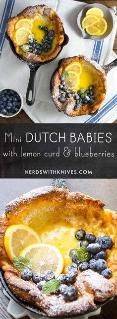 Mini Dutch Babies with Lemon Curd and Blueberries This Brunch Recipes is tasty and delicious Breakfast And Brunch, Breakfast Dishes, Breakfast Recipes, Brunch Menu, Brunch Ideas, Breakfast Ideas With Eggs, Best Brunch Recipes, Breakfast Skillet, Brunch Drinks