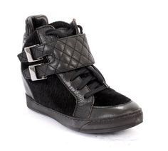 Black Stitched Leather / Pony Hair Lace Up / Side Zipper Hidden Wedge Ankle Booties / Sneakers By Victor Lelli | Mini Centro | New York  20% OFF- Code PINTEREST20