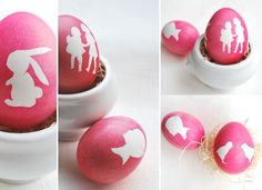 DIY Tissue/Crepe Paper-Covered Silhouette/Cameo  Easter Eggs (Animals -- Bunny/Fish/Chicks + Little Girl/Boy, etc.) Tutorial