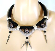 Rope Tribal Necklace Statement Necklace Black and Gray by vess65, $29.50