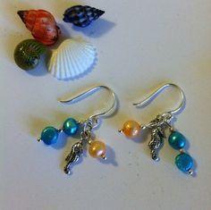 Seahorse Earrings Beachy Ocean Sand Colored by PamsPawsJewelry