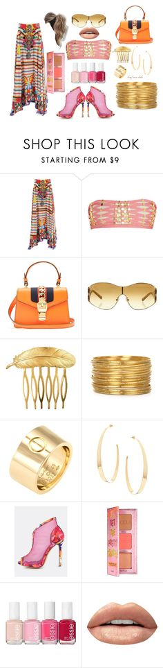 """Pool Party-Glam!"" by brief-case-babe ❤ liked on Polyvore featuring Camilla, Hervé Léger, Gucci, Louis Vuitton, Des Petits Hauts, Love Couture, Cartier, Lana, Benefit and Essie"