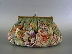 Vintage Silk Embroidered Floral Purse c.1930