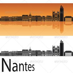 Nantes Skyline in Orange Background #GraphicRiver Nantes skyline in orange…