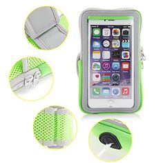 Moonmini Running Armband Sport Neoprene Band Strap Wallet Touchscreen Design with Key Card Gadgets Holders for iPhone 6  iPhone 6s 47 inch  Green Great for Jogging Walking  Exercise ** You can get more details by clicking on the image. (Note:Amazon affiliate link)