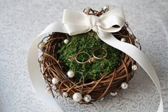 Ring bearer pillow Rustic nest ring pillow Rustic ring box Rustic wedding nest pillow Woodland ring holder Moss nest ring pillow TITANIA - Phone Grip Holder - Ideas of Phone Grip Holder - Ring bearer pillow Rustic nest ring pillow by WildRoseAndSparrow Wedding Ring Cushion, Cushion Ring, Wedding Pillows, Wedding Ring For Him, Ring Holder Wedding, Wedding Rings, Decoration Entree, Basket Decoration, Engagement Decorations