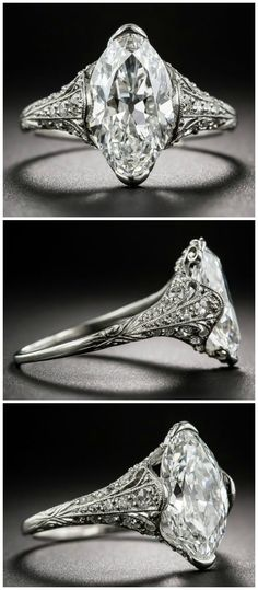 Setting idea for marquise diamond. A beautiful antique engagement ring from Tiffany and Co, from the early The center stone is just over 3 carats and it's perfect. Beautiful Engagement Rings, Antique Engagement Rings, Antique Rings, Vintage Rings, Beautiful Rings, Antique Jewelry, Vintage Jewelry, Vintage Bracelet, Solitaire Engagement