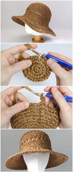 Crochet Summer Hats, Crochet Diy, Crochet Crafts, Crochet Projects, Crochet Sun Hats, Sombrero A Crochet, Crochet Beanie, Crotchet, Crochet Scarves