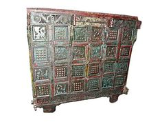 Antique Vintage India Boho Rustic Red Green Tribal by MOGULGALLERY