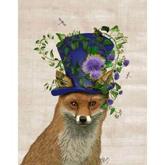 Mad Hatter Fox Canvas Print  at Joss and Main