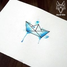 Geometric tattoo - picture result for the meaning of origami boat tattoo - Aquarell / Zeichnen - Origami Tattoo, Diy Tattoo, Tattoo Art, Tattoo Ideas, Tattoo Aquarelle, Aquarell Tattoos, Tattoo Sketches, Art Sketches, Boat Drawing