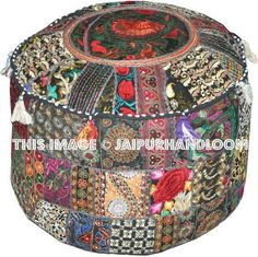 Traditional India Indian Patchwork Pouf Cover Indian Living Room Pouf, Decorative Ottoman,Embroidered Designer Ottoman, Home Living Footstool Chair Cover, Bohemian Ottoman Pouf Decor Inch.: Home & Garden: Pouf Ottoman, Ottoman Cover, Bean Bag Living Room, Ottoman In Living Room, Moroccan Furniture, Furniture Decor, Accent Furniture, Indian Living Rooms, Stool Covers