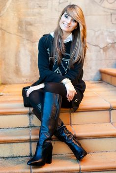 High Top Boots, Knee High Heels, Thigh High Boots, High Heel Boots, Heeled Boots, Cute Boots, Sexy Boots, Riding Boot Outfits, Tights And Boots