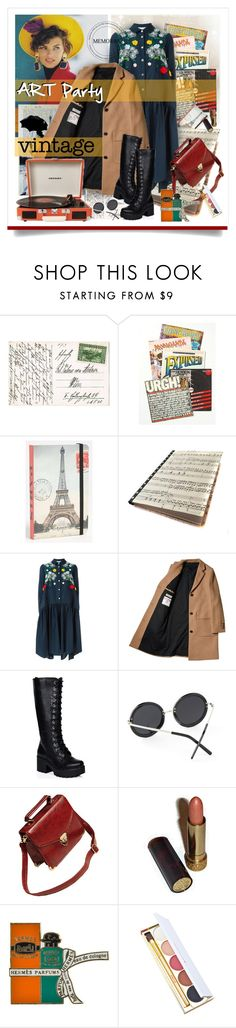 """***Vintage Art Party***"" by ksenia-lo ❤ liked on Polyvore featuring Free People, Cavallini & Co., VIVETTA, SpyLoveBuy, Crosley, Avon, Hermès, Winky Lux and vintage"