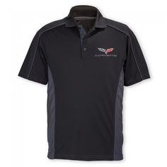 Corvette C6 Extreme Performance Colorblock Polo - Black/Carbon  This polo has style and performance worthy of its ePerformance emblem. Featuring care-free polyester tricot fabric with built-in moisture-wicking, antimicrobial and UV protection performance. This polo delivers an exceptional level of comfort. Embroidered Corvette C6 logo on left chest. Flat knit collar, contrast piping and side inserts. 100% polyester. Imported.  SKU: CH2-MP795