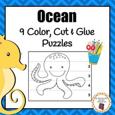 Work on scissor grip and pencil grasp with these fun color, cut and glue ocean number puzzles during your ocean unit. Preschool Puzzles, Preschool Worksheets, Preschool Learning, Kindergarten Homeschool Curriculum, Kindergarten Classroom, Classroom Ideas, Ocean Unit, Under The Ocean, Number Puzzles