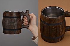 600ml Wooden Beer Mug - 5th anniversary gifts for him