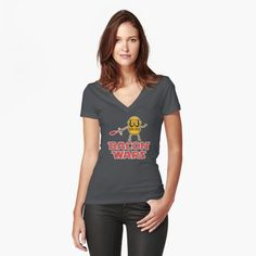 Bacon wars - Jake Women's Fitted V-Neck T-Shirt Front  #starwars #stormtrooper #sith #laser #lightsaber #bacon #jake #jakethedog #adventuretime #geek #movie #darkside #movie #episodevii #nerd #cartoon #vector #vectorart #adobeillustrator #prints #poster #apparel #space #tshirt #case #kyloren #empire #firstorder