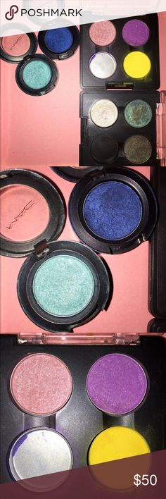 MAC EYESHADOWS!!!!! New!!! $128 value!!!! EIGHT MAC EYESHADOWS!!! Most are new, some barely used (refer to pictures). MAC Cosmetics Makeup Eyeshadow