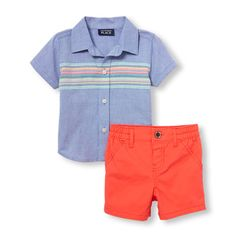 3686f0797258d Newborn Baby Boys Short Sleeve Engineer Striped Oxford Button-Down Shirt  And Chino Shorts -
