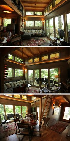 the gorgeous interior of the frank lloyd wright inspired treehouse