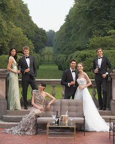 A wedding party pose done like an editorial shoot