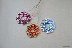 Christmas Quilled Snowflake Set, Christmas Snowflake Ornament Decoration, X-mas Hanging Home Decor Set of 3