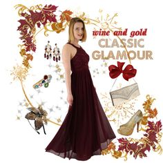 Burgundy wine chiffon and lace gown paired with gold accessories is perfect for a regal holiday look. Old Hollywood Style, Old Hollywood Glamour, Shades Of Burgundy, Burgundy Wine, Looks Vintage, Vintage Style, Midi Length Skirts, Holiday Looks, Chiffon Skirt
