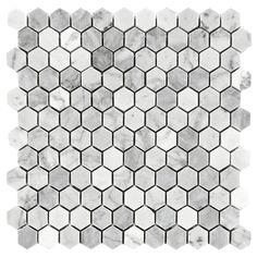 "Carrara (Carrera) Bianco Hexagon Honed 1"" Marble Mosaic Tile $11.25/sq ft (sheet)"