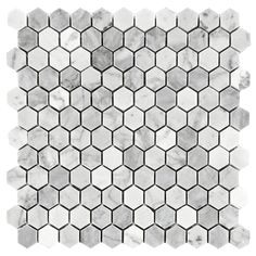 "Carrara (Carrera) Bianco Hexagon Honed 1"" Marble Mosaic Tile $11.25/sq ft (sheet)"