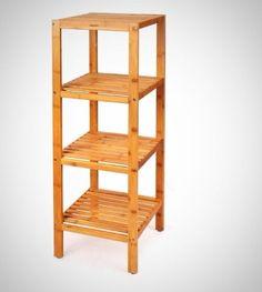 Storage Shelf Bathroom Free Standing Rack Display Stand Unit Bamboo Furniture