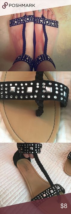 Cute black sandals with geometric gems These are comfortable and cute black sandals with fun details. Shoes Sandals
