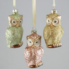 Glitter owl ornaments  Google Image Result for http://thechristmasowl.files.wordpress.com/2011/10/owlglitterornaments.jpeg%3Fw%3D500