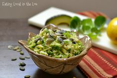 Brussels Sprout Salad with Avocado and Toasted Pepitas #salad #healthy #vegetables @EatLocalinLou