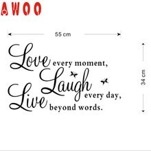 """wall sticker 2017 Kitchen  Stickers decoration Fashion Vinyl Decal Live Every Moment,Laugh Every Day,Love Beyond Words"""" CA17MAY4(China (Mainland))"""