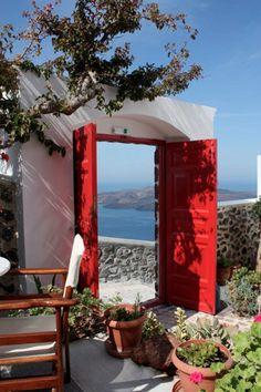 Santorini Greece - Red door with morning coffee