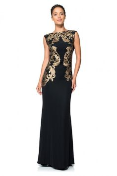 Tadashi Shoji - CREPE DRAPED OPEN BACK GOWN WITH METALLIC PAILLETTE DETAIL $548