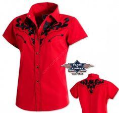 Compra online esta camisa de manga corta para mujer Stars Stripes color rojo  con recamado negro 41e731c2ba9