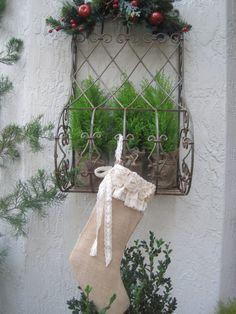Farmhouse BURLAP CHRISTMAS STOCKING - French Shabby Cottage - Organza Roses - Sheet Music Lining Crochet Lace Trim Ribbons. $25.00, via Etsy.