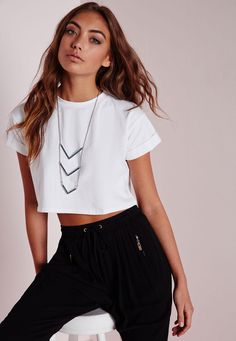 Petite Roll Sleeve Cotton Crop Top White - Petite - Petite Tops - Missguided