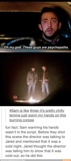 """castiel-knight-of-hell: """" majestiel: """" is like it's pretty chilly lemme just warm my hands on this burning corpse """" fun fact: Sam warming his hands wasn't in the script. Castiel, Supernatural Fandom, Supernatural Funny Moments, Supernatural Cartoon, Supernatural Bloopers, Supernatural Imagines, Supernatural Wallpaper, Sam Winchester, Jared Padalecki"""