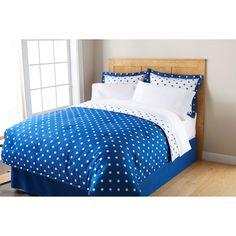 Mainstays Dot Bed In A Bag Bedding Set Blue Eclipse, Polyester Bedding Set, Polka Dots Bedding Set, Home Bedding Set