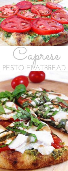 Caprese Pesto Flatbread. Fresh basil pesto, tomatoes, fresh mozzarella and drizzle of balsamic vinegar combine for a fresh & delicious  pizza on a Naan flatbread.