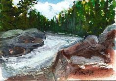 Day 24: Bull River, ACEO, Daily Paintworks - Penny Lee StewArt www.pennyleestewart.com, www.craftylady.com