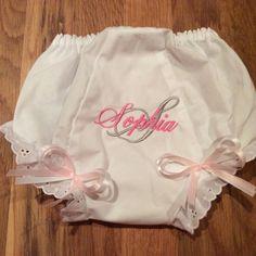 Monogrammed initial bloomers diaper cover shower girl by lettersandlollipops on Etsy