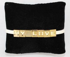 "White Leather & Gold Pegs Bracelet ""My Love"""