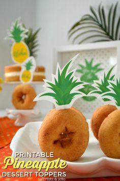 pineapple dessert topper printables
